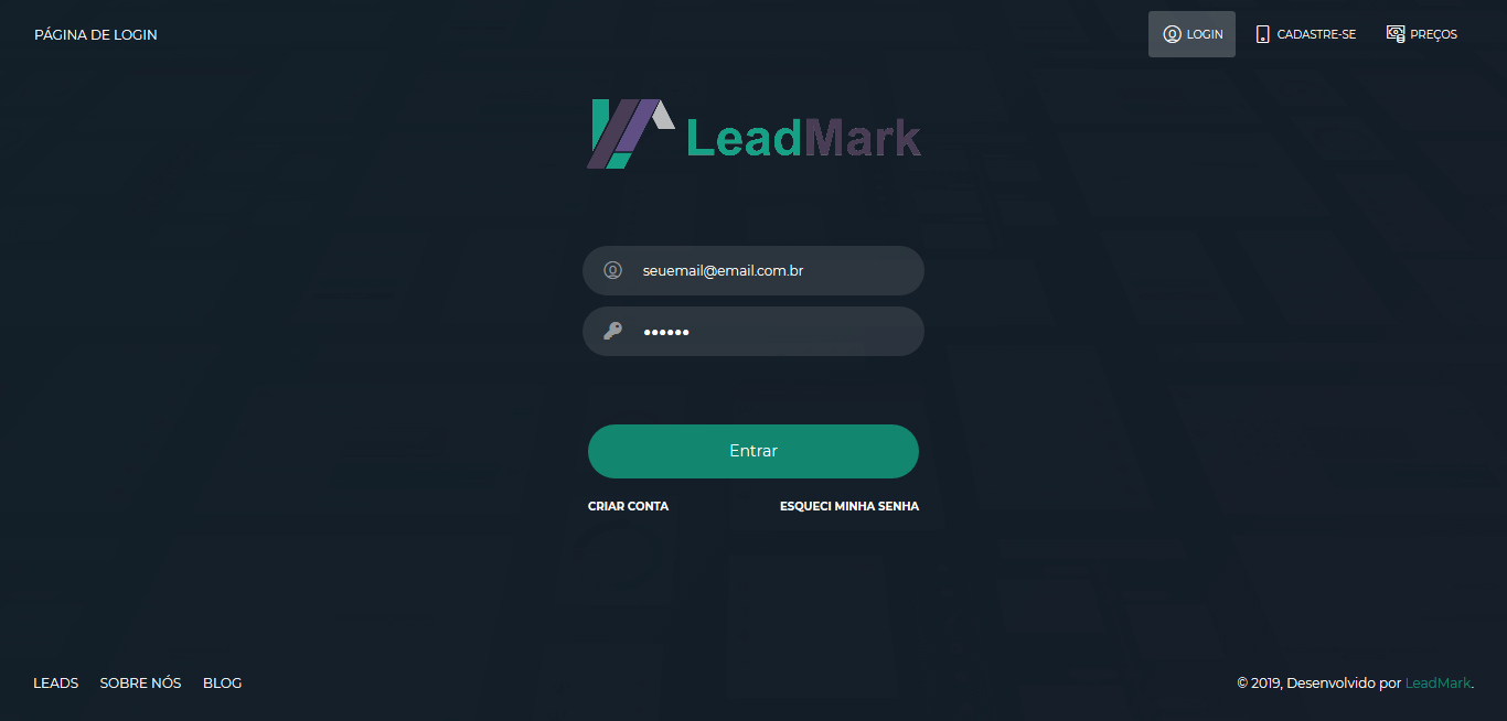 Screenshot 2019 10 18 LeadMark v3 Página de Login 1