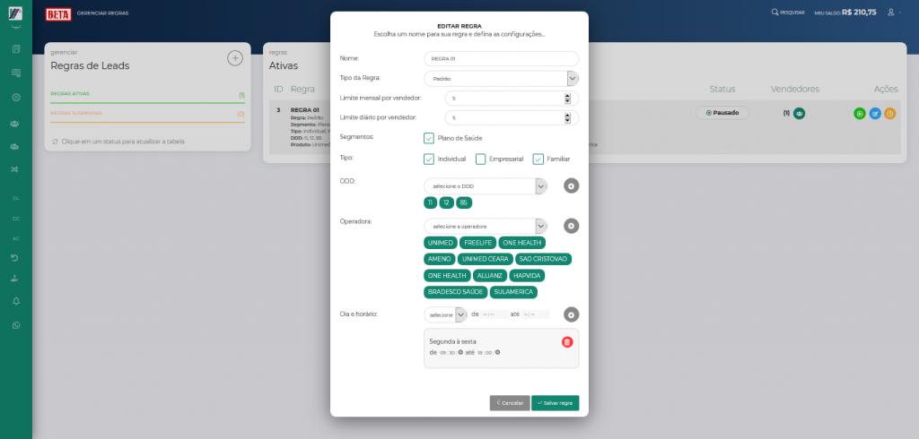 Screenshot 2019 10 24 LeadMark BETA Gerenciar Regras 4
