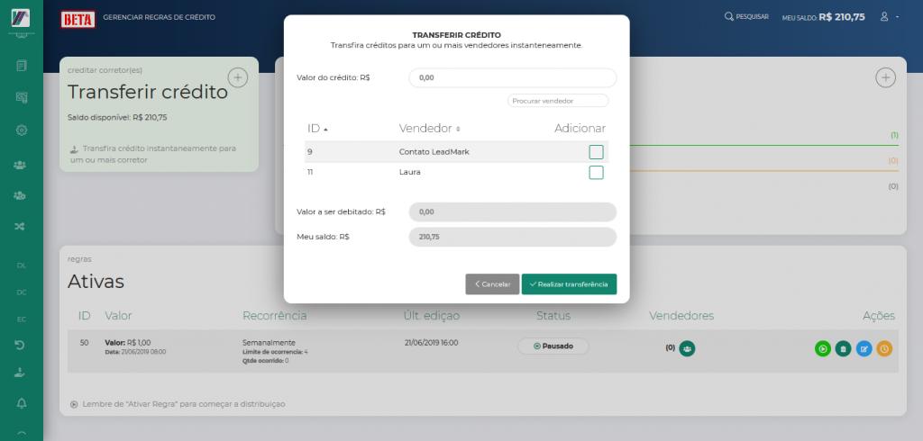 Screenshot 2019 10 24 LeadMark BETA Gerenciar Regras de Crédito 1