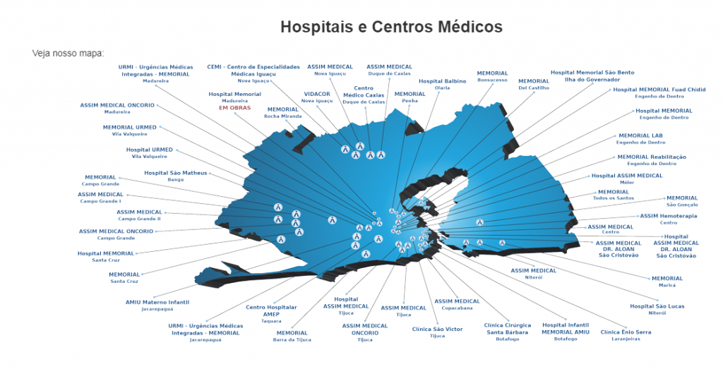 mapa rede credenciada assim saúde rio de janeiro